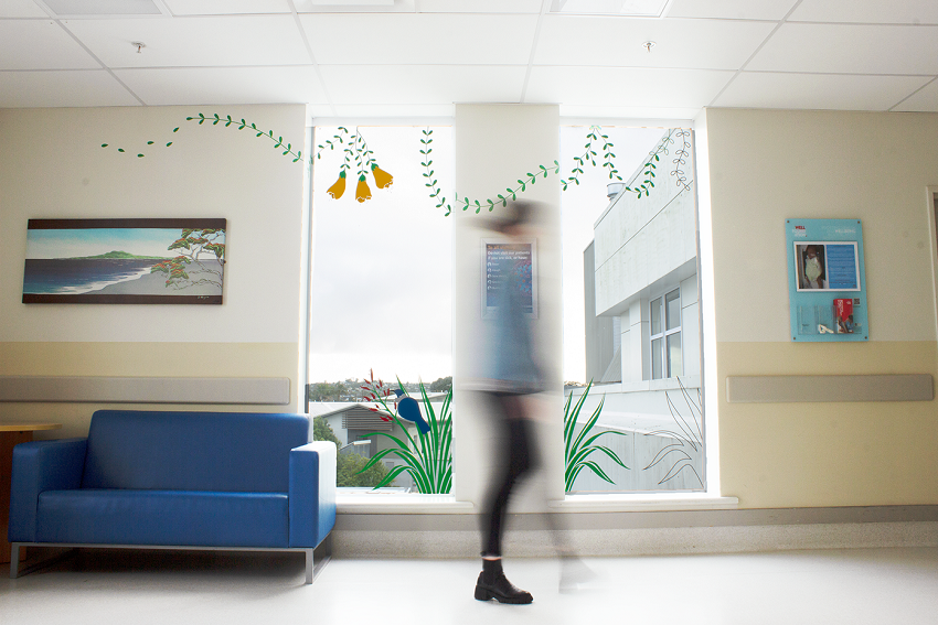 Decal of flowers and birds in hospital