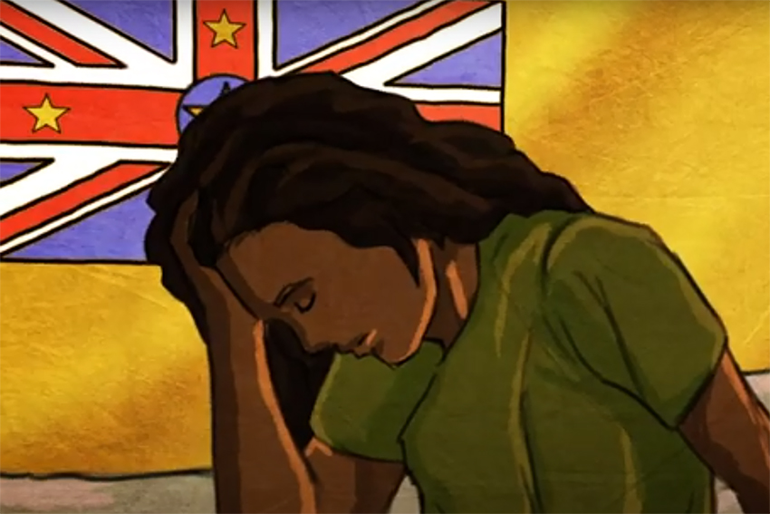Screenshot from AUT's Niue Language Week video showing a woman waking up with her hand on her head, in front of the Niuean flag.