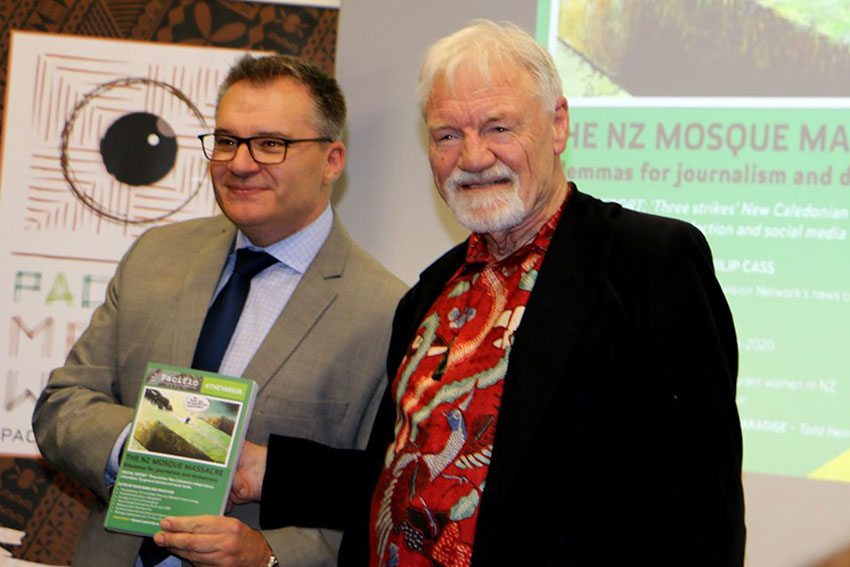 Pro Vice-Chancellor and Dean of Design and Creative Industries, Professor Guy Littlefair and Pacific Journalism Review editor Professor David Robie at the recent launch at Auckland University of Technology.
