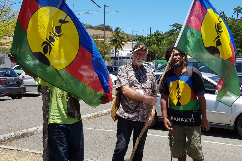 Professor David Robie with Kanak 'independence' flags