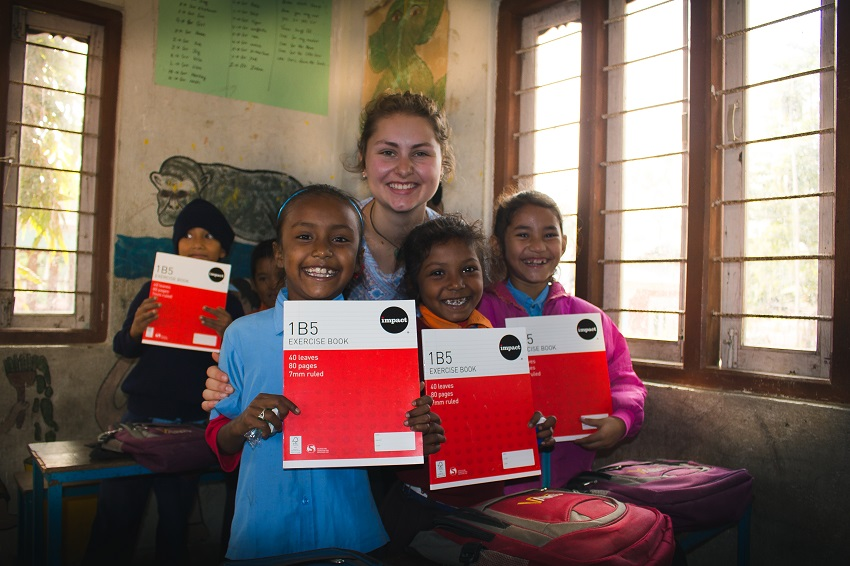 Alannah Wesche with Nepalese school girls