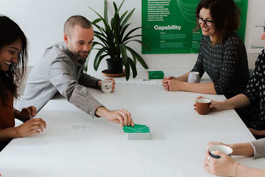 Initiate.Collaborate is a card game designed by AUT's Good Health Design lab to help teams collaborate better.