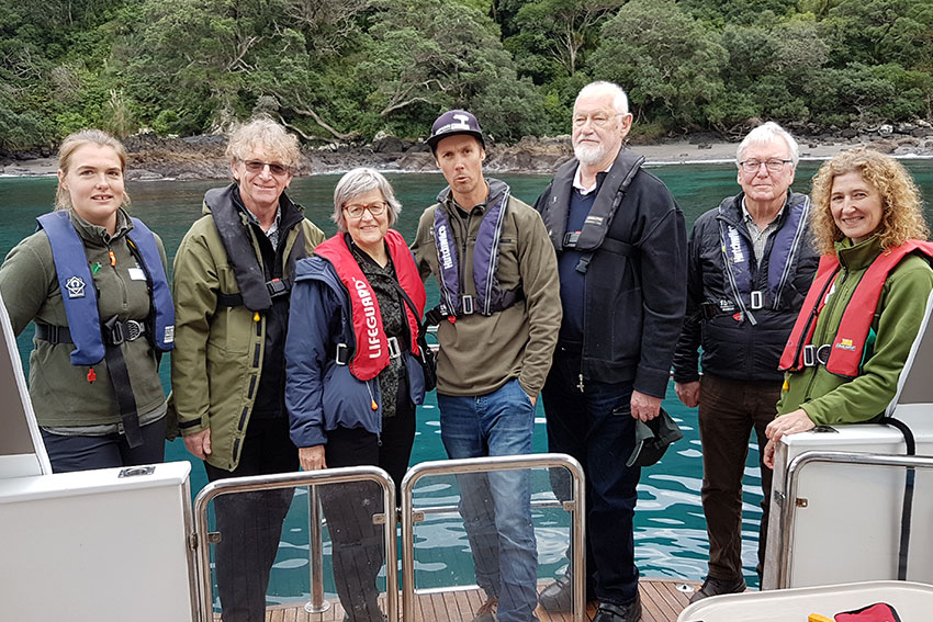 Left to right: Ripley Dean, ranger; Len Gillman, AUT; Eugenie Sage, Minister of Conservation; Adam Willetts ranger; Rod Gates, trustee; Greg Innes, Trust Chair; Annie Everson-Dawn, trust secretary.
