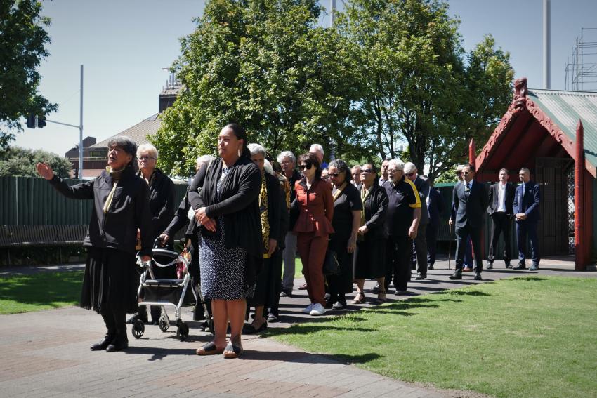The manuhiri are led onto AUT's marae.