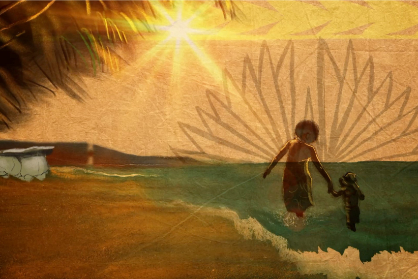 Screenshot of AUT's Rotuman Language Week video showing a mother and child walking through the surf on Ratuma.