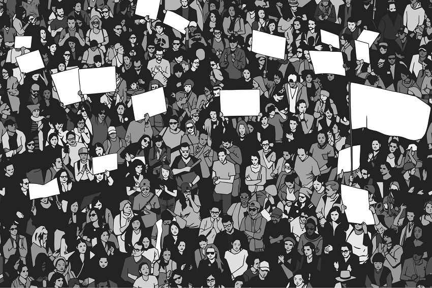 Black and white cartoon picture of many people protesting.