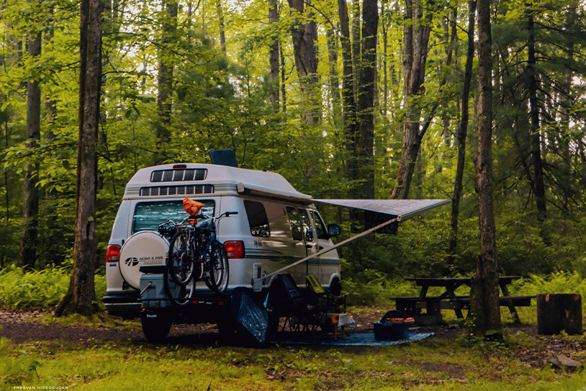 Campervan in forest