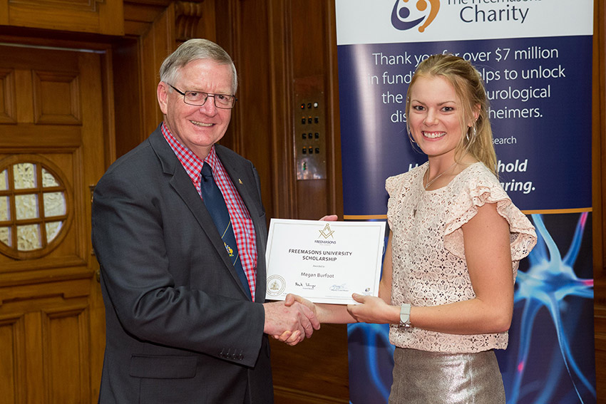 Megan Burfoot receiving Freemasons University Scholarship
