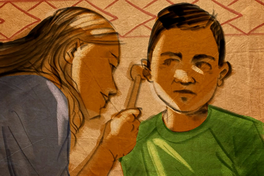Cartoon depiction of a health professional checking a child's ear.