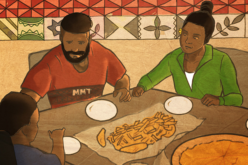 Screenshot of the AUT video, showing a Tongan family eating a meal around a table.