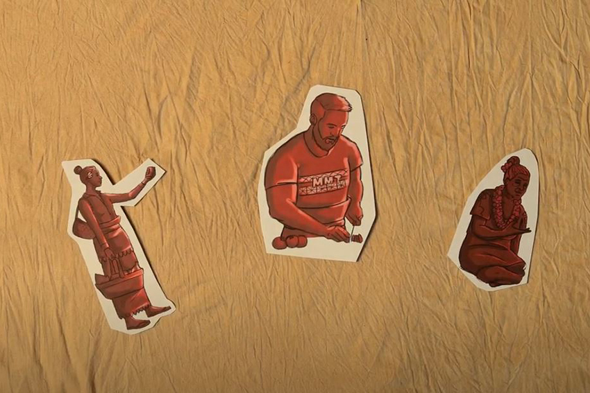 Screenshot of the video showing magazine style cartoon cutouts of Tongan people of different ages.