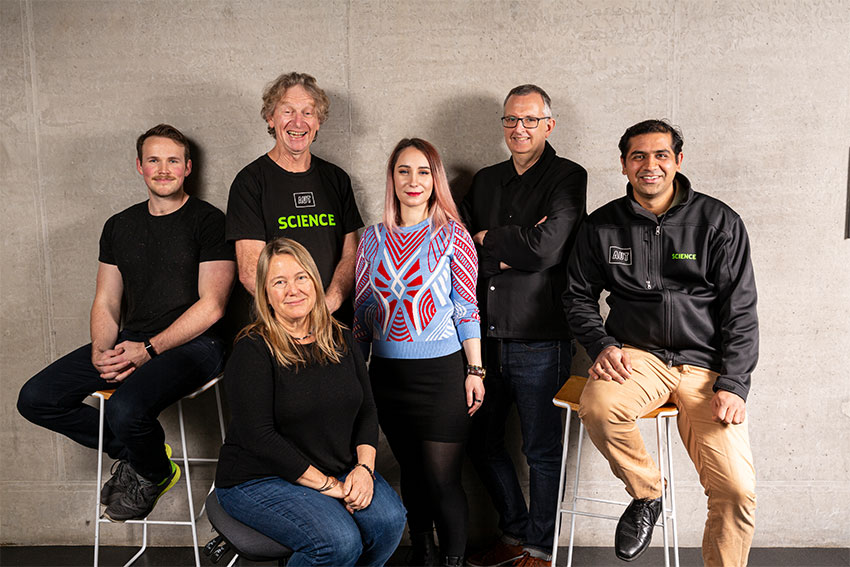 The AUT team of scientists and designers who created the Hillary's Hut virtual reality project. Left to Right: Lee Jackson, Len Gillman, Barbara Bollard (front), Katarina Markovic, Gregory Bennett and Ashray Doshi