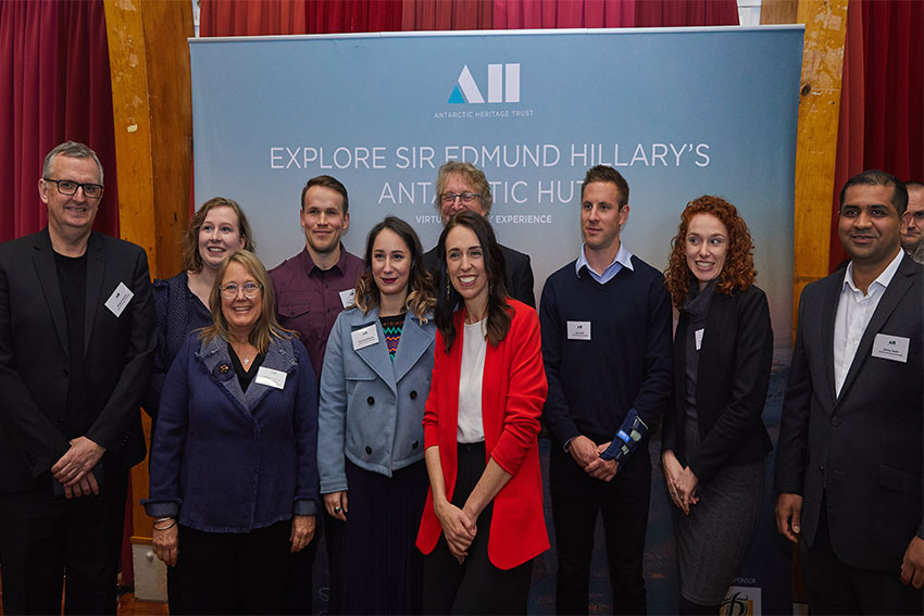 AUT Team with Jacinda Ardern (Backrow L-R: Gregory Bennett, Julia King, Lee Jackson, Len Gillman, Ryan Smith, Rose Nichol-Foster and Ashray Doshi. Front row L-R: Barbara Bollard, Katarina Markovic, Jacinda Ardern)