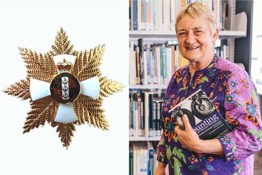 A combination photograph of the insignia for the Dames Companion of The New Zealand Order of Merit and a picture of Professor Marilyn Waring holding her book The Political Years.