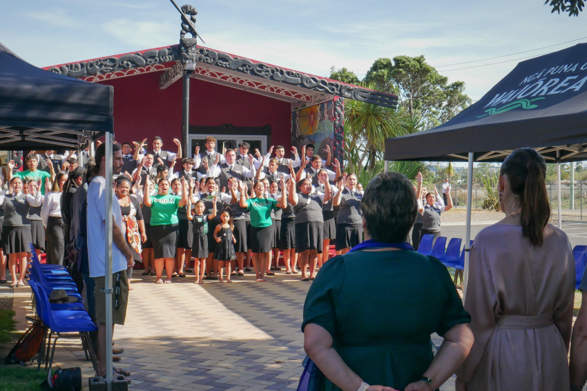 New Zealand PM Jacinda Ardern is welcomed onto Western Springs College - Ngā Puna o Waiōrea.
