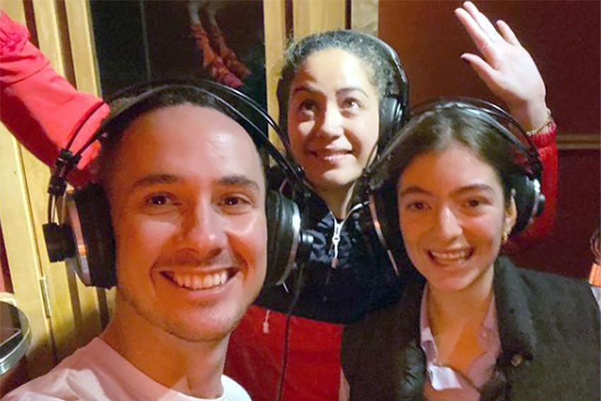 Hēmi Kelly, Hana Mereraiha and Lorde in the studio